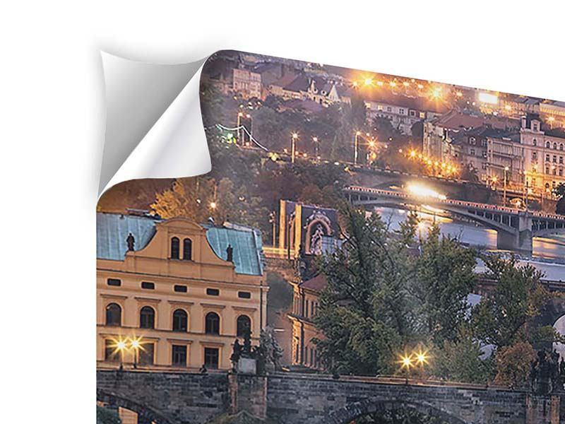 Klebeposter Panorama Brücken in Prag