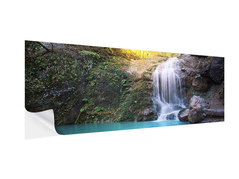 Klebeposter Panorama Fliessender Wasserfall