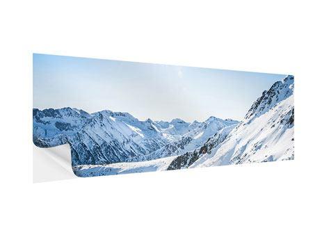 Klebeposter Panorama Bergpanorama im Schnee
