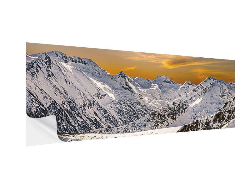 Klebeposter Panorama Sonnenuntergang in den Bergen