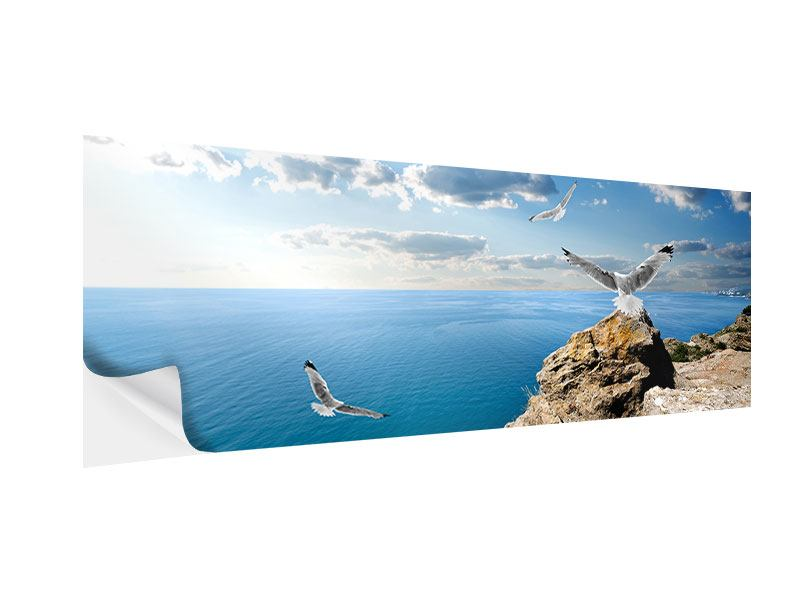 Klebeposter Panorama Die Möwen und das Meer
