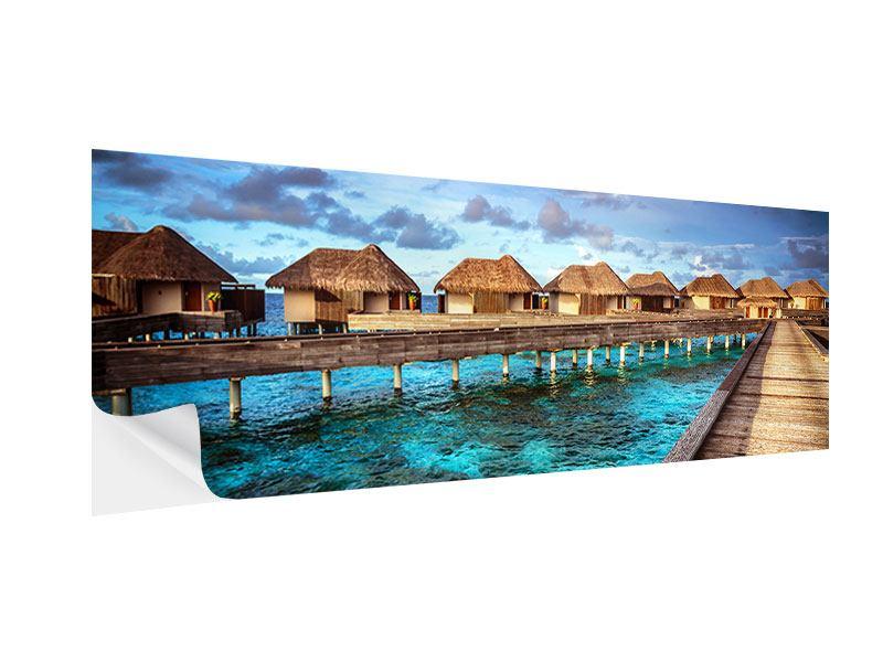 Klebeposter Panorama Traumhaus im Wasser