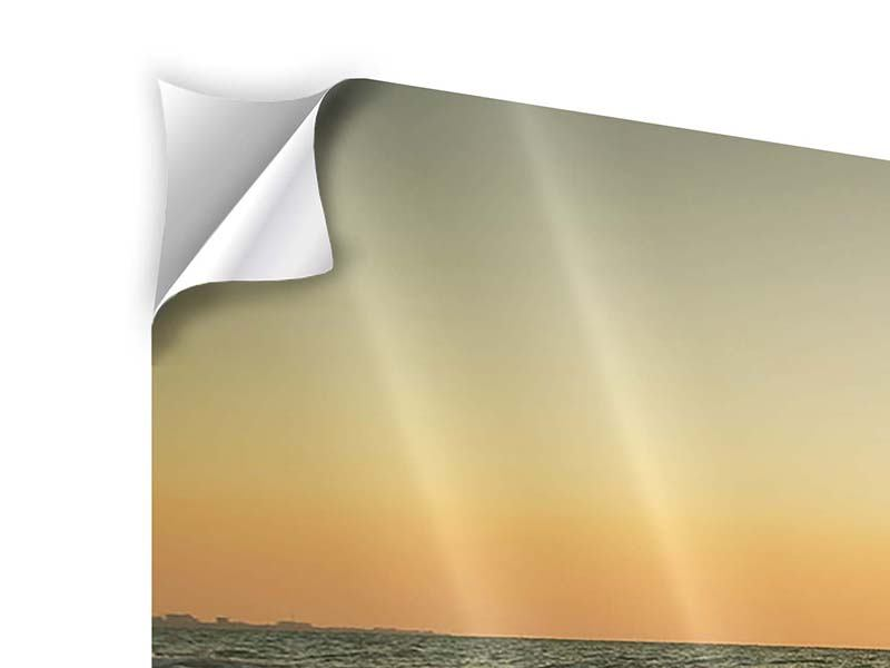 Klebeposter Panorama Sonnenuntergang am Meer