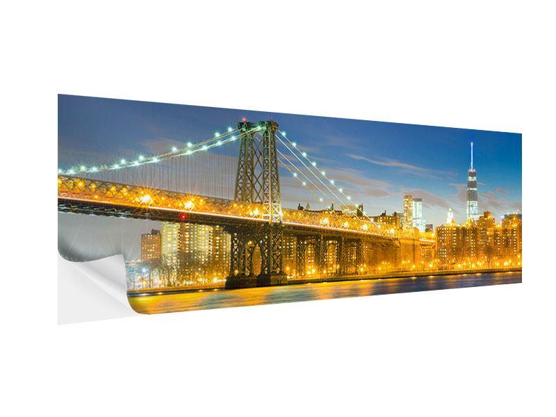 Klebeposter Panorama Brooklyn Bridge bei Nacht