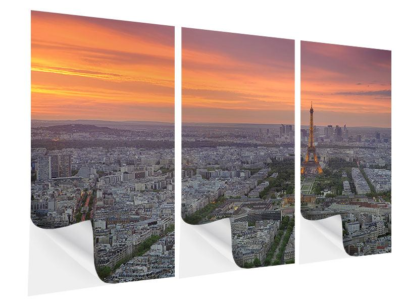 Klebeposter 3-teilig Skyline Paris bei Sonnenuntergang