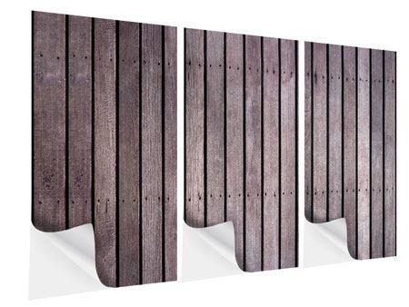 Klebeposter 3-teilig Holzwand