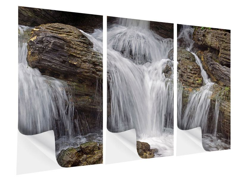 Klebeposter 3-teilig Wasserfall XXL