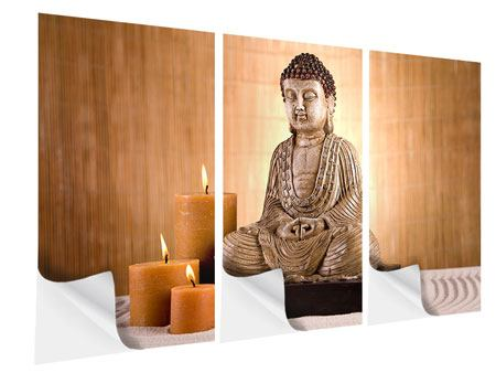 Klebeposter 3-teilig Buddha in der Meditation