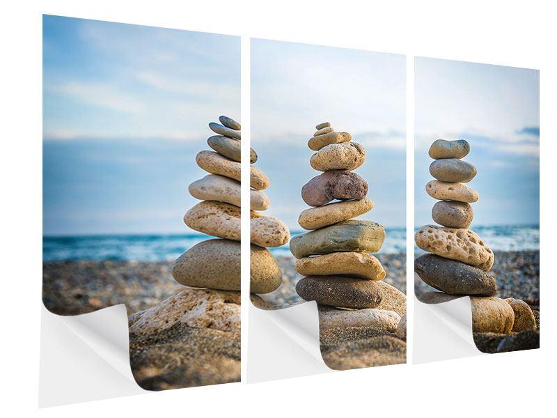 Klebeposter 3-teilig Drei Steinstapel
