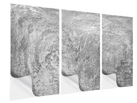 Klebeposter 3-teilig Wischtechnik in Grau