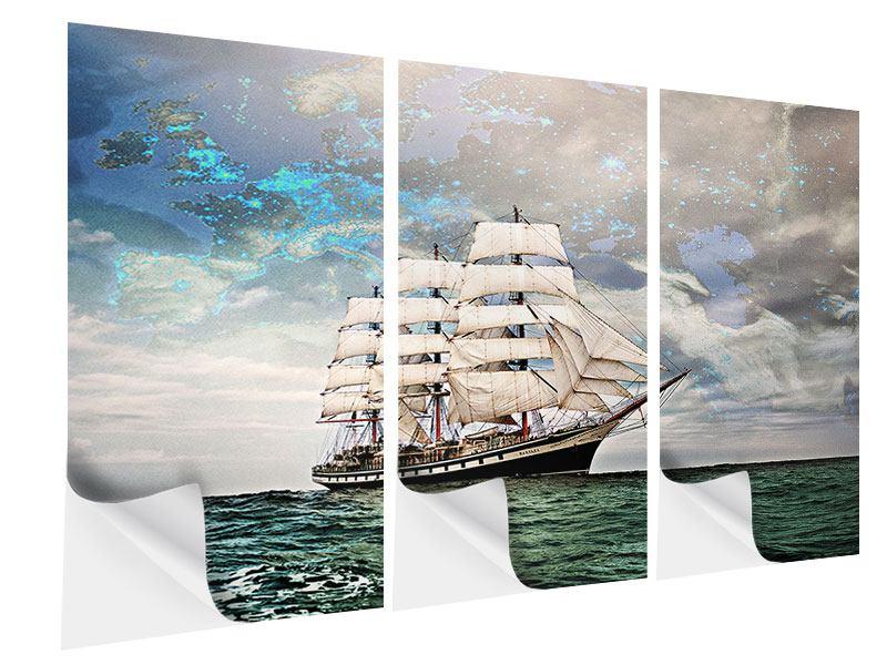 Klebeposter 3-teilig Segelschiff