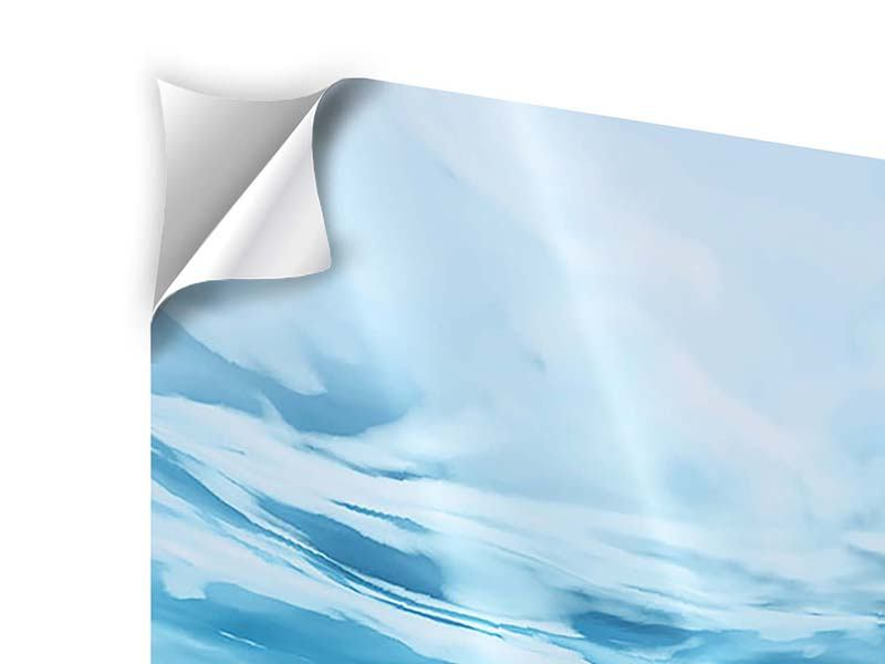 Klebeposter 3-teilig Lichtspiegelungen unter Wasser