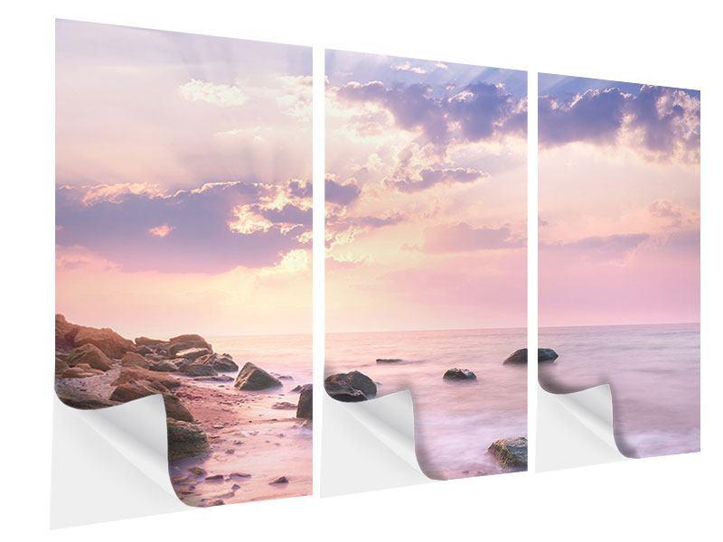Klebeposter 3-teilig Sonnenaufgang am Meer