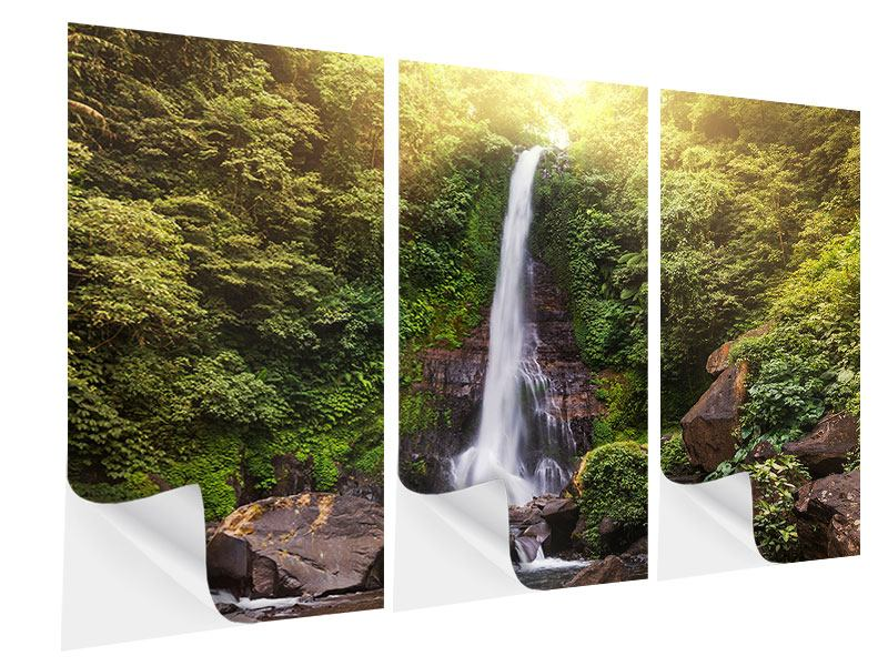 Klebeposter 3-teilig Wasserfall Bali