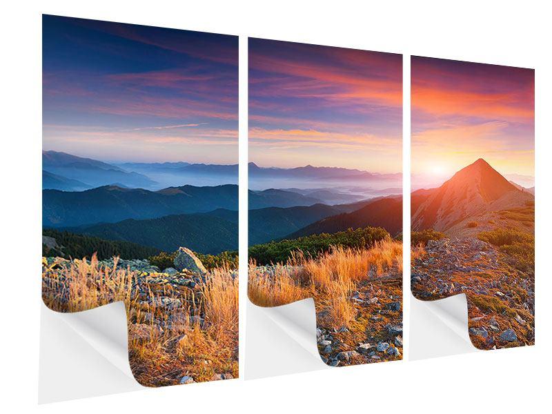 Klebeposter 3-teilig Sonnenuntergang in den Alpen