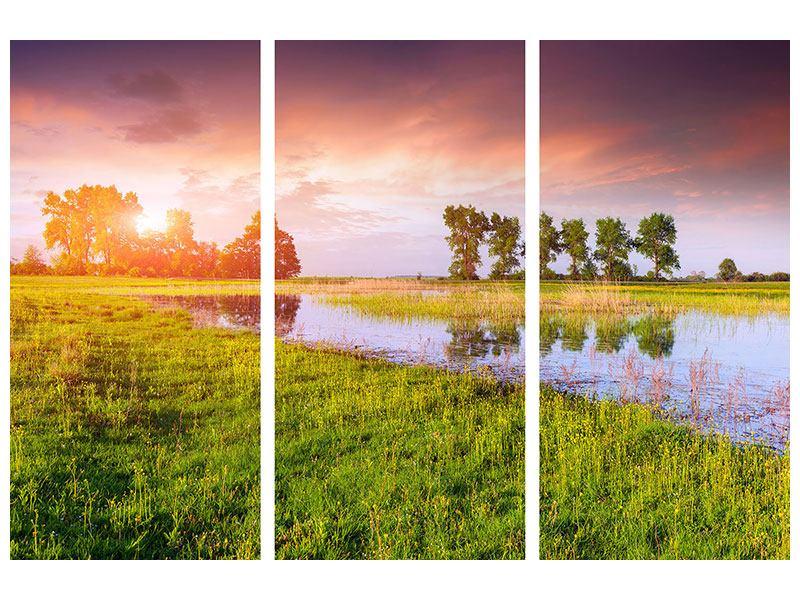 Klebeposter 3-teilig Sonnenuntergang am See