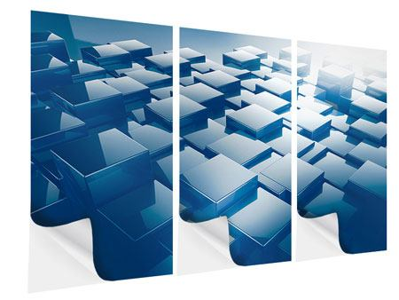 Klebeposter 3-teilig 3D-Cubes