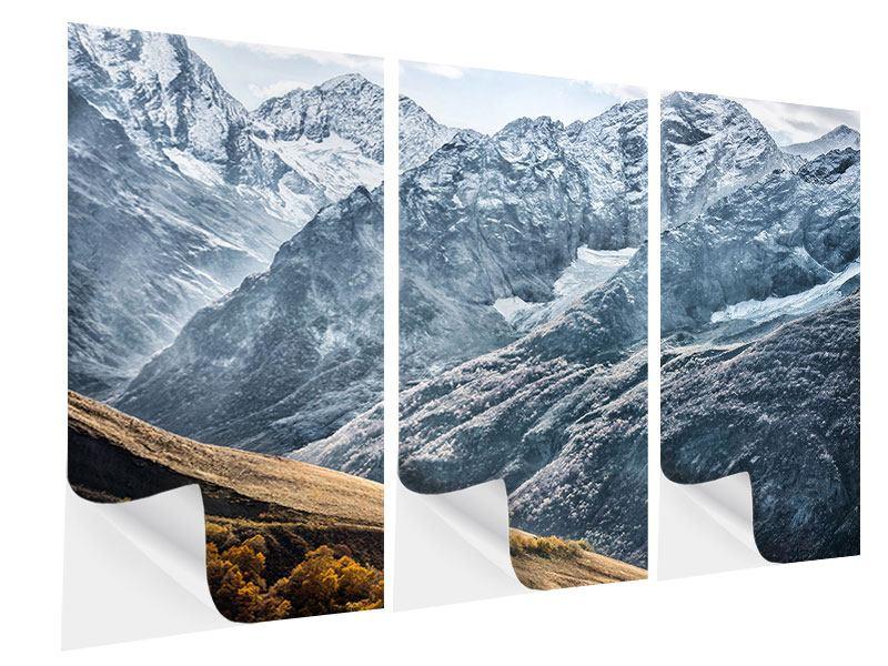 Klebeposter 3-teilig Gigantische Berggipfel