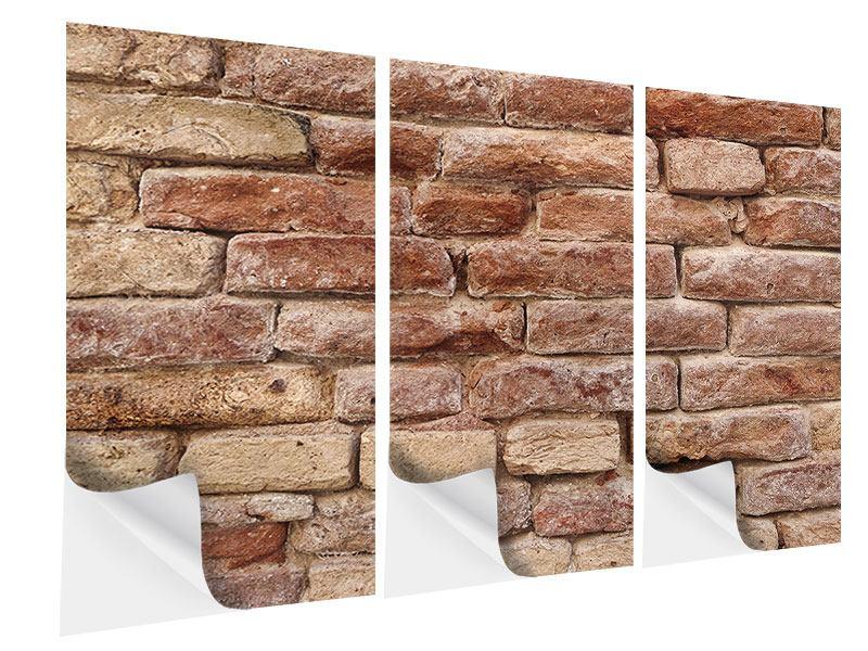 Klebeposter 3-teilig Loft-Mauer