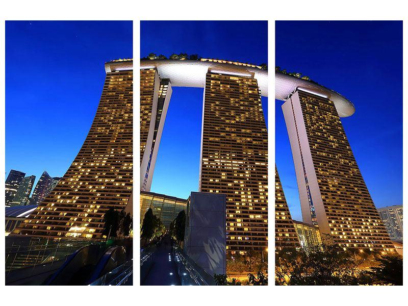 Klebeposter 3-teilig Wolkenkratzer Singapur