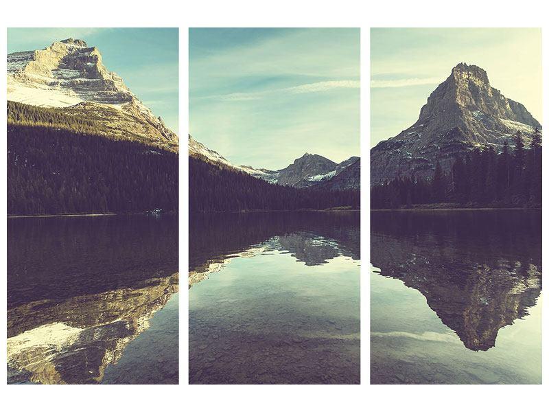 Klebeposter 3-teilig Spiegelung im Bergsee
