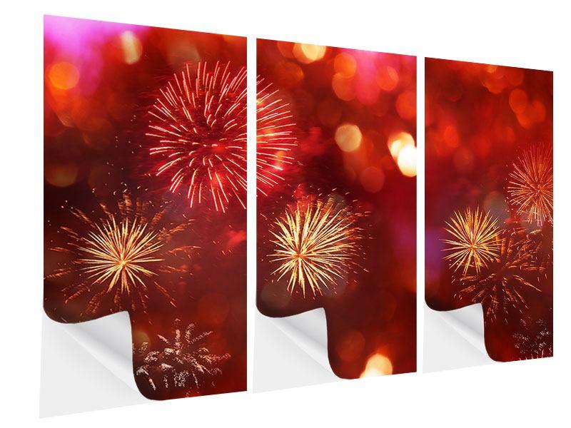 Klebeposter 3-teilig Buntes Feuerwerk