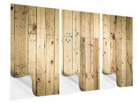 Klebeposter 3-teilig Holzpaneelen