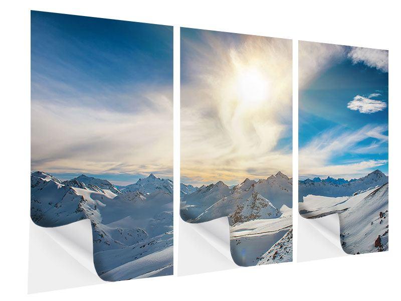 Klebeposter 3-teilig Über den verschneiten Gipfeln
