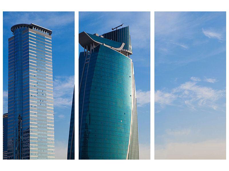 Klebeposter 3-teilig Zwei Wolkenkratzer