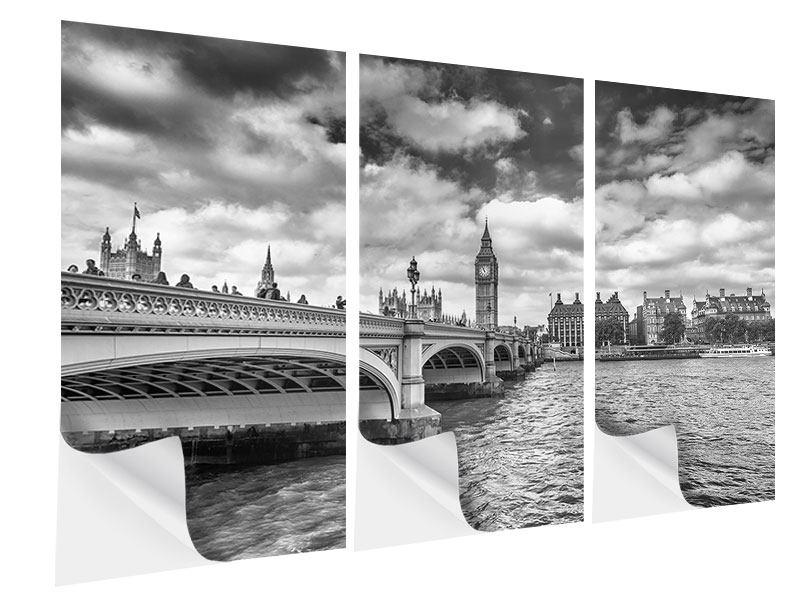 Klebeposter 3-teilig Westminster Bridge
