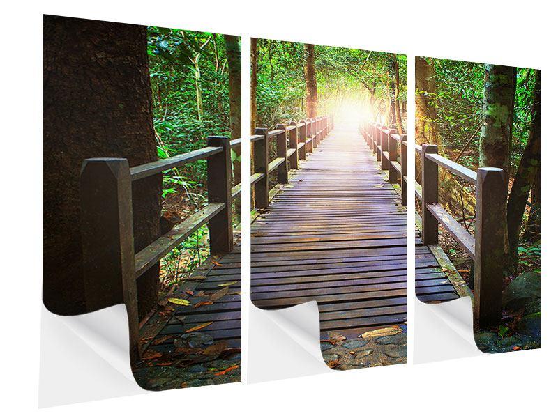 Klebeposter 3-teilig Die Brücke im Wald