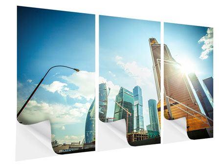 Klebeposter 3-teilig Wolkenkratzer Moskau