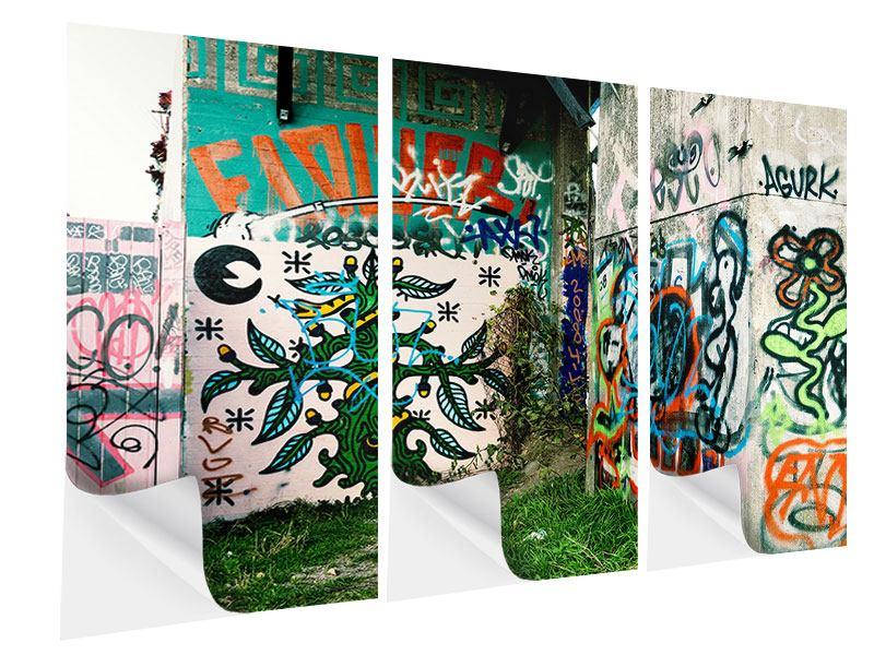 Klebeposter 3-teilig Graffiti im Hinterhof