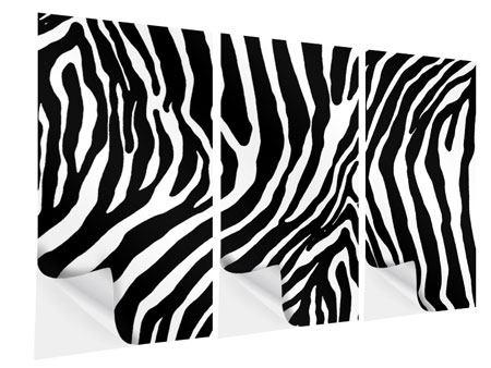 Klebeposter 3-teilig Zebramuster
