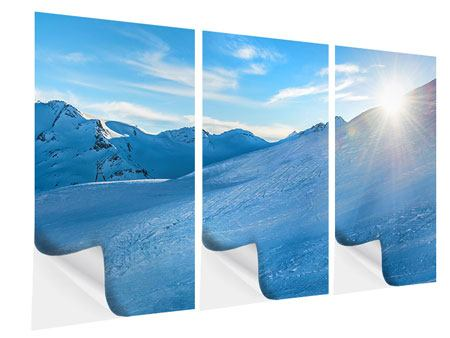 Klebeposter 3-teilig Sonnenaufgang in den Bergen