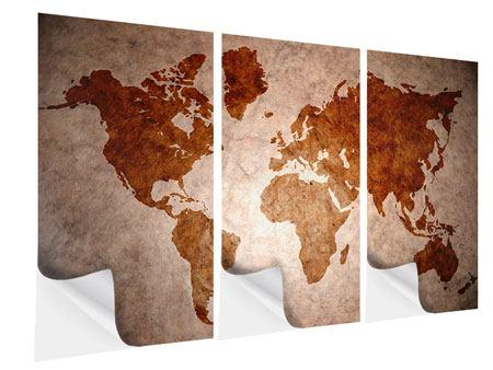 Klebeposter 3-teilig Vintage-Weltkarte