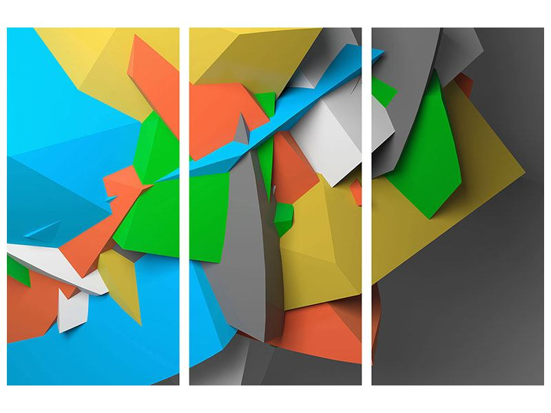 Klebeposter 3-teilig 3D-Geometrische Figuren