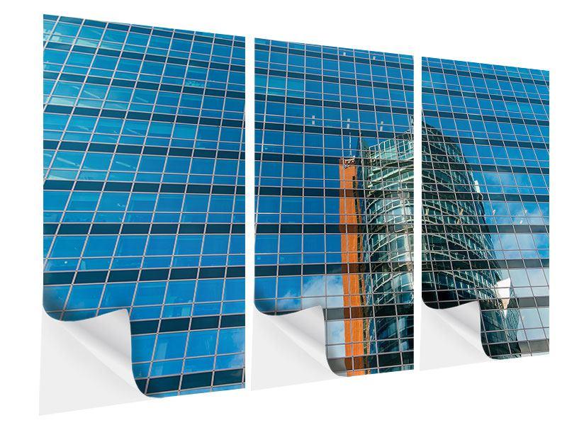 Klebeposter 3-teilig Wolkenkratzer-Spiegel