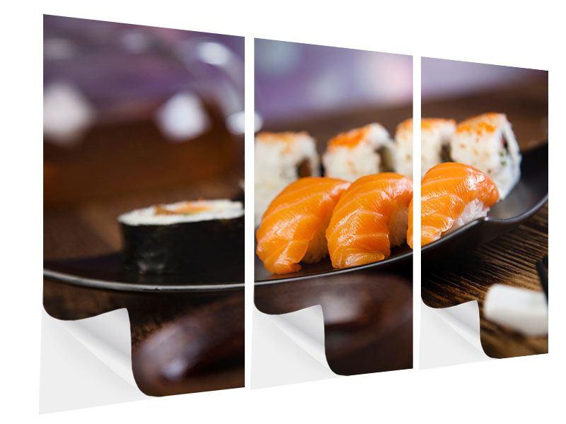 Klebeposter 3-teilig Sushi-Gericht