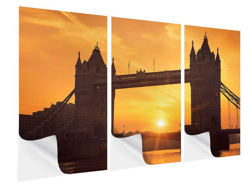 Klebeposter 3-teilig Sonnenuntergang bei der Tower-Bridge
