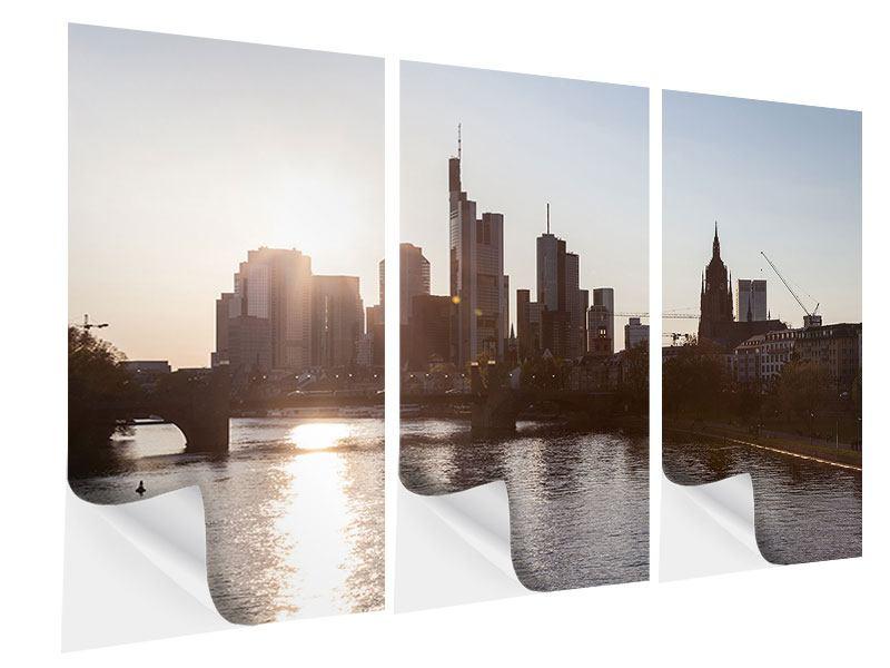 Klebeposter 3-teilig Skyline Sonnenaufgang bei Frankfurt am Main
