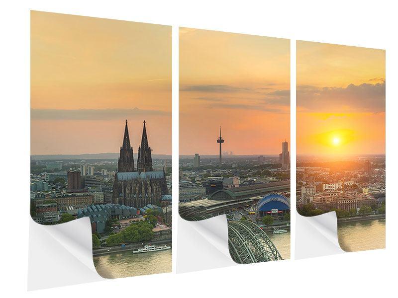 Klebeposter 3-teilig Skyline Köln bei Sonnenuntergang