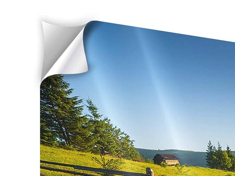 Klebeposter 3-teilig Sonnenaufgang am Berg