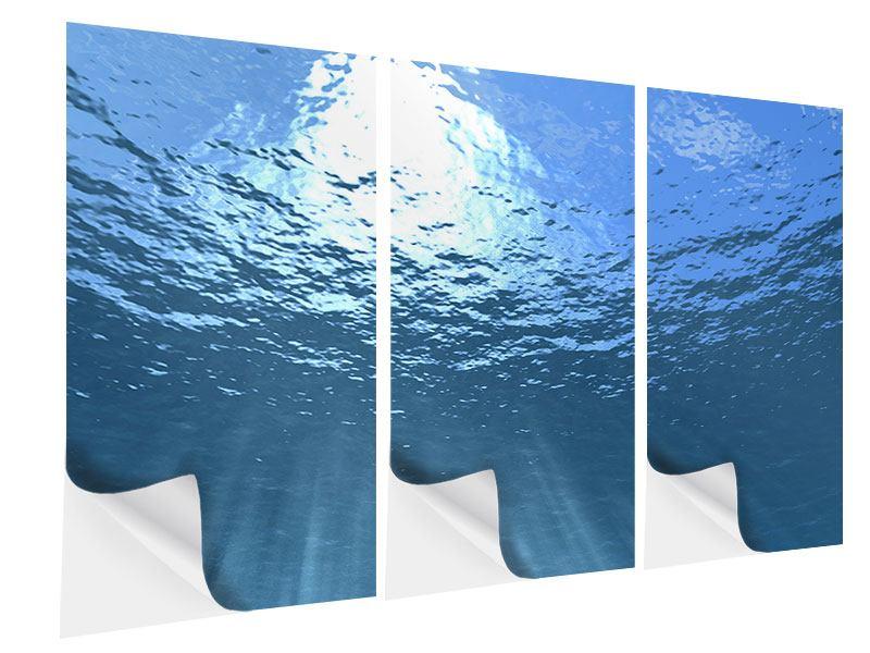 Klebeposter 3-teilig Sonnenstrahlen unter Wasser