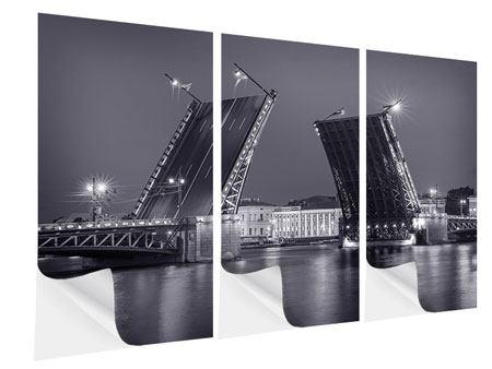 Klebeposter 3-teilig Klappbrücke bei Nacht
