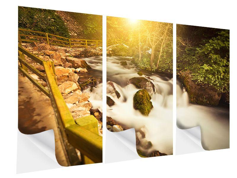 Klebeposter 3-teilig Sonnenuntergang am Wasserfall