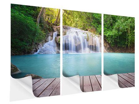 Klebeposter 3-teilig Terrasse am Wasserfall