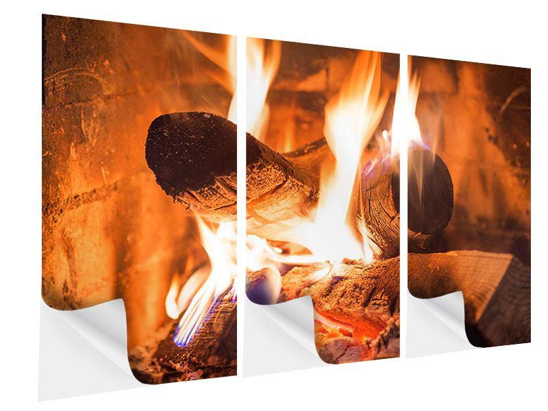 Klebeposter 3-teilig Kaminfeuer