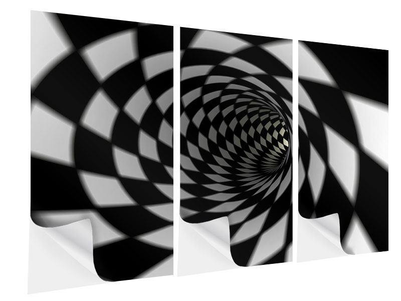 Klebeposter 3-teilig Abstrakter Tunnel Black & White