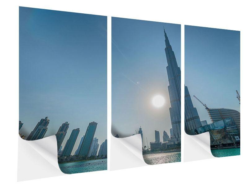 Klebeposter 3-teilig Wolkenkratzer-Architektur Dubai